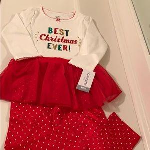 Baby girl Christmas onesie and tutu leggings set